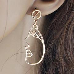 Side Face Metal Stud Hollow Out Drop Earrings