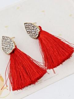 Vintage Water Drop Shape Rhinestone Embellished Tassel Earrings