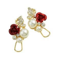 Rhinestone Simulated-pearl and Flower Shape Flower Earrings