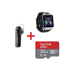 Gift Bundle Of DZ09 Smart Watch Phone With Free Bluetooth headset and sandisk 32GB memory card gun metal grey 80m/s