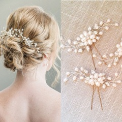 2pcs Women Floral Wedding Tiara Handmade Pearl Flower Hair Pin Crystal Pearl Bridal Hair Combs