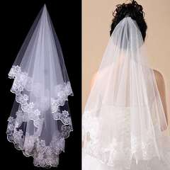 Women Ladies Bridal 1.5m Length One Layer Long Wedding Veil with Lace