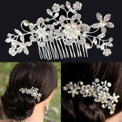 Bridal Headpiece Hair Jewelry Headwear Wedding Crystal Pearl Rhinestone Flower Hair Comb