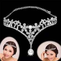 Women Ladies Bridal Bridesmaid Wedding Party Decorative Rhinestone Pendant Heart Crowns Chain