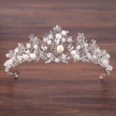 Royal Crown Rhinestone Tiaras and Crowns Pearl Wedding Hair Jewelry Head Pieces