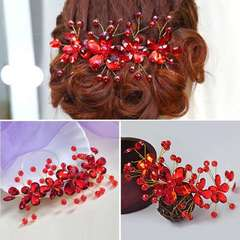 Women's Red Flower Wedding Bridal Party Handmade Hair Pin Clip Jewelry
