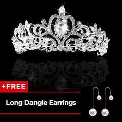 (Long Dangle Earrings For Free)  Women's Wedding Bridal Princess Rhinestone Prom Hair Tiara Crown