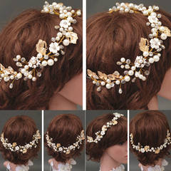 New Bride Gold Headpiece Pearl Crystal Hair Accessory Wedding Party Hair Jewelry