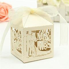 50pcs Mr & Mrs Bride Groom Paper Candy Sweets Gift Boxes Baby Shower Favors Creamy White One Size