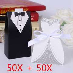100pc/lot Elegant Candy Box For Wedding Sweet Bag Wedding Favors Gift For Guest Bride Groom Wedding BLACK + WHITE one size