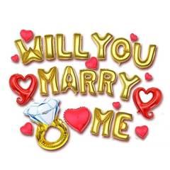 Marry me Party Decoration Aluminum Foil Wedding Membrane Balloon Set One Set one size