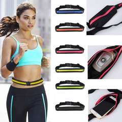 2EST Running Waist Bag Pack Belt with 2 zipper Jogging Gym Marathon Waist Packs red one size