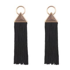 Lady Tassel earrings women geometric triangular vintage earrings BLACK one size