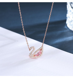 New Pink Little Swan Necklace Swarovski Crystal Pendant Wild Rose Gold Clavicle Chain Rose Gold one size