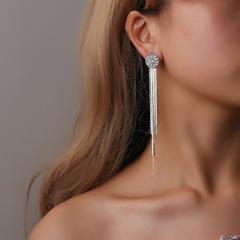 Crystal claw chain drill sun flower earrings female long hanging tassel earrings Silver one size
