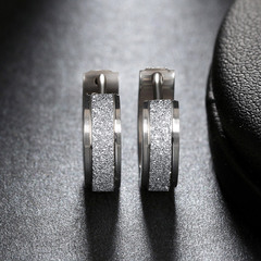 Fashion Stainless Steel Frosted Circle Hoop Earrings For Women Girls Silver one size