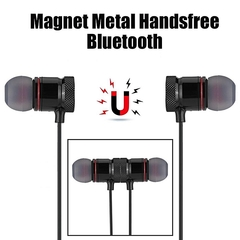Bluetooth Earphone Sports Magnet Metal Handsfree Bluetooth 4.1 Headset For Android Apple Universal black