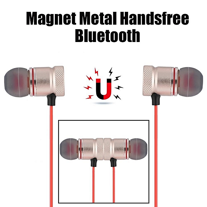 Bluetooth Earphone Sports Magnet Metal Handsfree Bluetooth 4.1 Headset For Android Apple Universal brzone