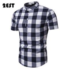 2EST fashion simple big plaid casual pullover men's short-sleeved shirt for men men shirt shirts black S