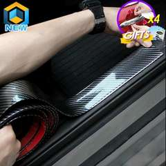 Car Stickers 5D Carbon Fiber Rubber Styling Door Sill Protector Goods 3x100cm one size