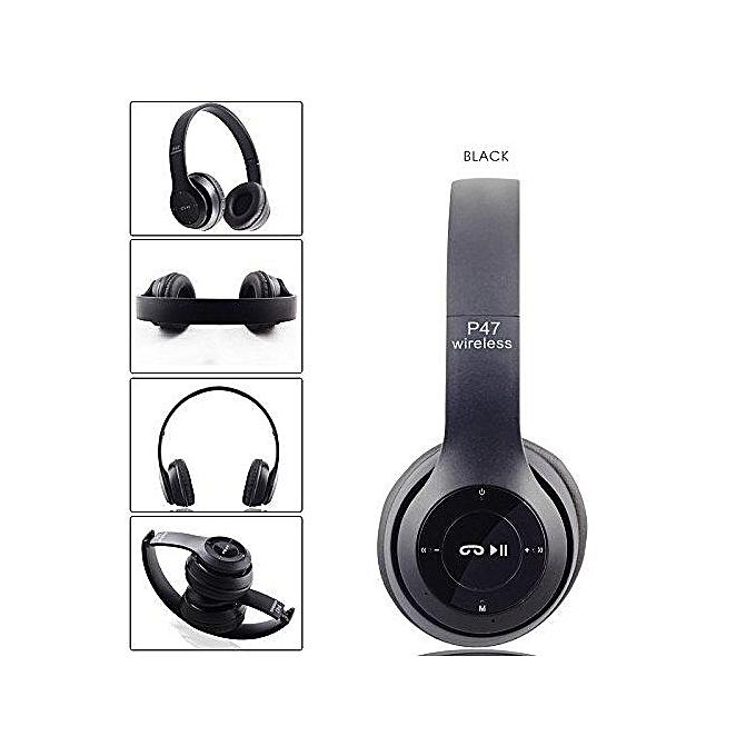 2EST P47 Folding WIFI Wireless Bluetooth 4.1 Headphones Headset earphone earphones black