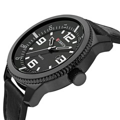 CURREN 8180 Men Quartz Watch Leather Band Calendar Date Business Casual Wristwatch