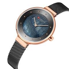 CURREN BLANCHE 9032 Women Quartz Watch Mesh Stainless Steel Band Fashion Wristwatch