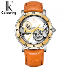 IK hollow out mechanical watch man metal watch band fashion personality gold Brown belt