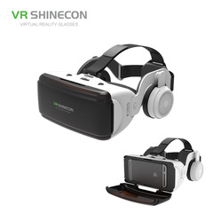 VR CASE 3D VR Headset Movie Game Virtual Reality with speakers black Host and bluetooth controller