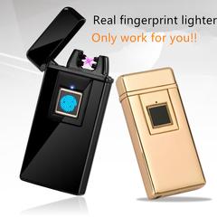 Real fingerprint lighter Cool Creative wind-proof cigarette lighter Individual security gold③