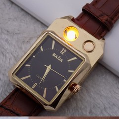 Real watch + USB lighter Cool Personalized metal cigarette lighter Watch of wrist of men black+gold