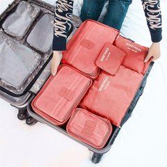 6 Pcs/Set Square Travel Luggage Storage Bags Clothes Organizer Pouch Case Pink