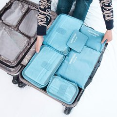 6 Pcs/Set Square Travel Luggage Storage Bags Clothes Organizer Pouch Case Sky blue
