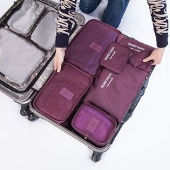 6 Pcs/Set Square Travel Luggage Storage Bags Clothes Organizer Pouch Case wine red