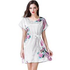 Women Sexy O Neck Peacock pattern Sleepwear Dress Comfortable Summer Ladies Thin Night Dress White One size