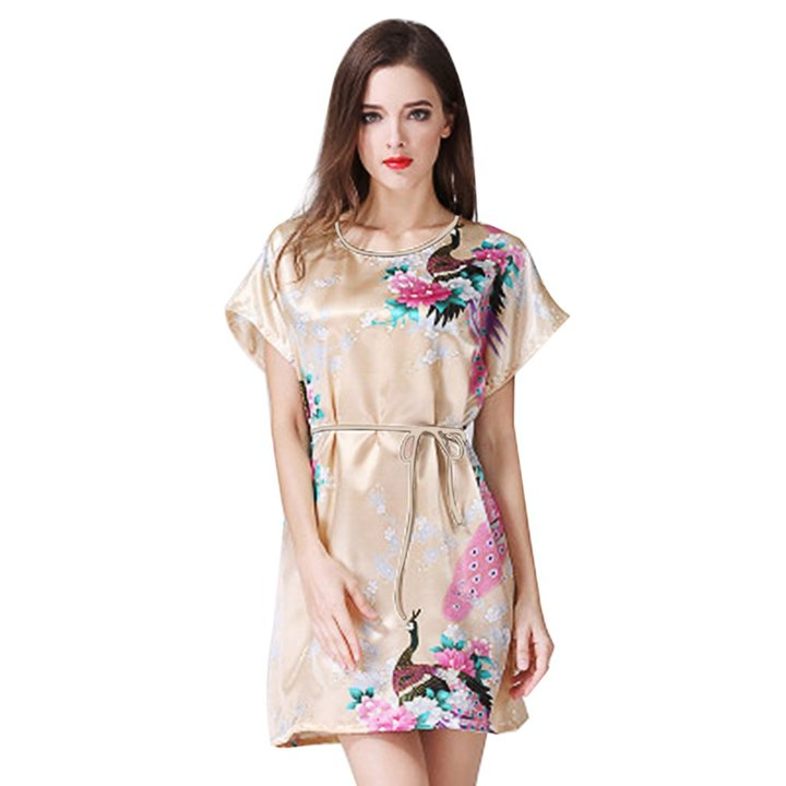 adf68d6ce1 Women Sexy O Neck Peacock pattern Sleepwear Dress Comfortable Summer Ladies  Thin Night Dress Gold Yellow