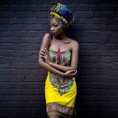 Sexy Skinny Wrapped Breast Skirt African National Style Dress l yellow