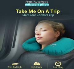 New Pillow Neck Brace Support Travel U-Shape Blowing Used During Airplane Office Car Rest Protector blue