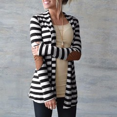 Spring Cardigan Women Long Sleeve Striped Printed Casual Knitted Sweater Plus Size Outerwear black xl