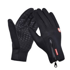 Outdoor Sports Hiking Winter Bicycle Bike Cycling Gloves For Men Women Windstopper Simulated Leather s black