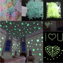 100pcs/bag 3cm Glow Luminous Star Stickers Bedroom Sofa Fluorescent Painting Toy PVC Stickers Room pink 100pcs/bag