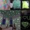 100pcs/bag 3cm Glow Luminous Star Stickers Bedroom Sofa Fluorescent Painting Toy PVC Stickers Room blue 100pcs/bag