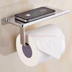 Multi-functional 304 Stainless Steel Toilet Paper Holder with Mobile Phone Shelf Mirror Finish One Size