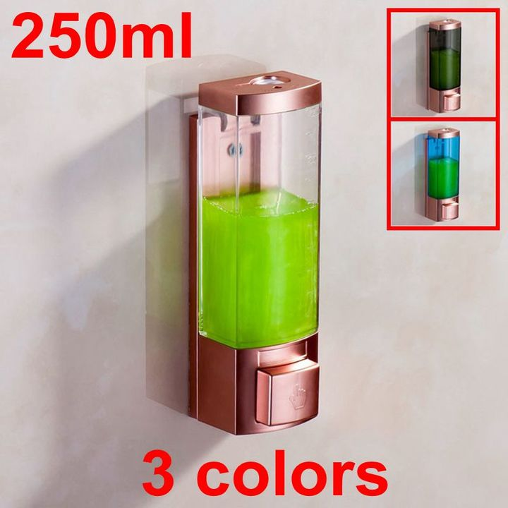 Luxury 250ml Rose Gold Color ABS Plastic Single Hand Washing Liquid Soap Dispenser Shampoo Dispenser Rose gold + white wall mounted