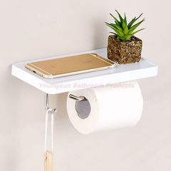 Multi-functional Stainless Steel Toilet Paper Holder Mobile Phone Shelf Bathroom Rack Clothes Hook White wall mounted
