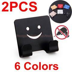 Colorful Aluminum Adhesive NO Drilling Smile Clothes Hook Robe Hook Coat Hook Door Hook Wall Hook Black x 2PCS