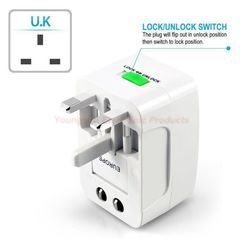 Universal Worldwide Portable All in 1 AC Power UK/US/EU/AU Travel Plug Adapter Power Plug Converter white
