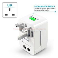 Universal Worldwide Portable All in 1 AC Power UK/US/EU/AU Travel Plug Adapter Power Plug Converter white