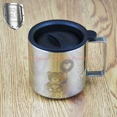 304 Stainless Steel Double Wall Heat Insulated Mug Cup Coffee Cup with Lid Tea Cup Coffee Mug polished finish 280ml