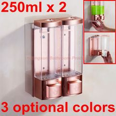 Luxury 250ml x 2 Rose Gold Color ABS Plastic Double Soap Dispenser Manual Liquid Shampoo Dispenser rose gold + white wall mounted